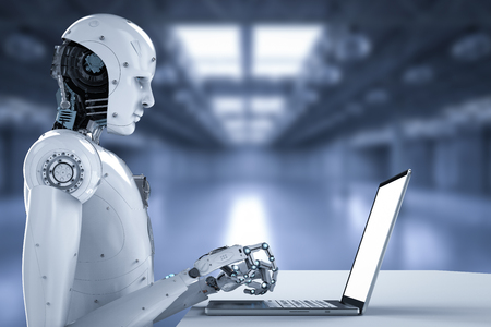 Robot umanoide della rappresentazione 3d che lavora al computer portatile Archivio Fotografico - 93407851