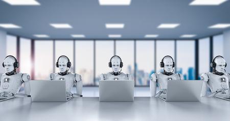 Robots humanoïdes de rendu 3d travaillant avec casque et ordinateur portable Banque d'images