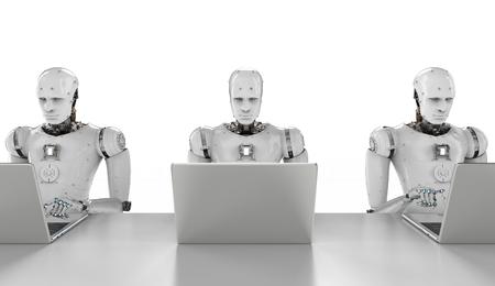 3D-rendering humanoïde robots werken op een laptop computer Stockfoto