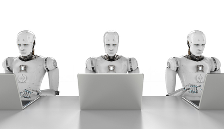 3d rendering humanoid robots working on laptop computer Фото со стока - 92928899