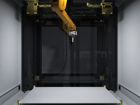 3d rendering 3d printer with injector nozzle