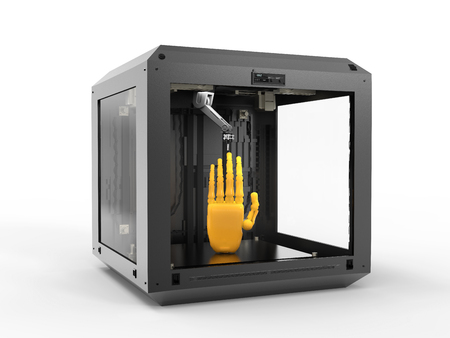3d rendering 3d printer with resin hand Foto de archivo