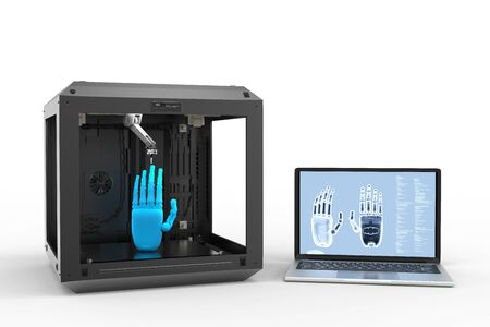 3d rendering 3d printer connect with computer notebook