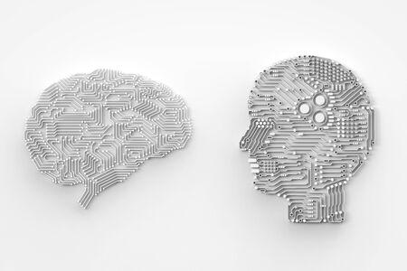 3d 렌더링 인공 지능 뇌 또는 회로 보드 머리 모양 측면보기 스톡 콘텐츠