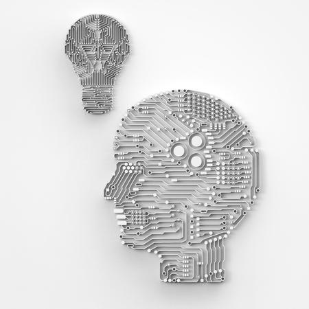 전구와 인공 지능 두뇌 렌더링 3d 렌더링
