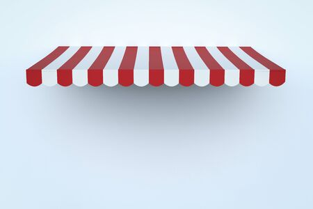 3d rendering awning canopy or sunshade on white wall background
