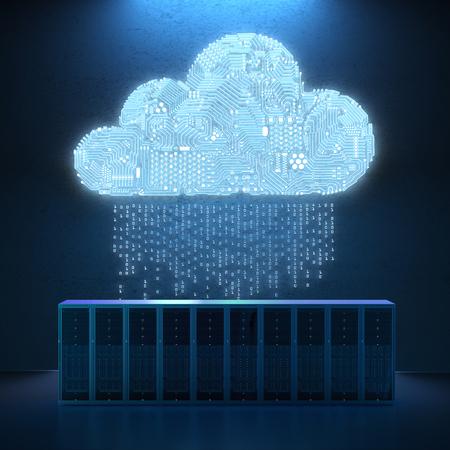 서버 컴퓨터와 3 차원 렌더링 회로 구름 스톡 콘텐츠