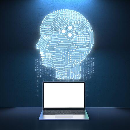 3 차원 렌더링 회로 두뇌와 빈 화면 노트북 스톡 콘텐츠 - 93631076