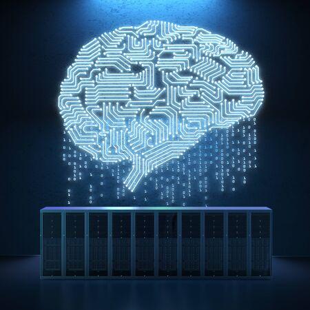 회로 두뇌와 3d 렌더링 서버 컴퓨터 스톡 콘텐츠