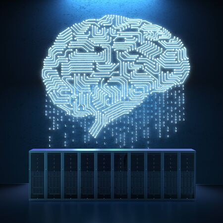 3d rendering server computer with circuit brain  Stock Photo