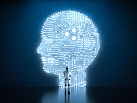 3d rendering humanoid robot with ai circuit brain Foto de archivo