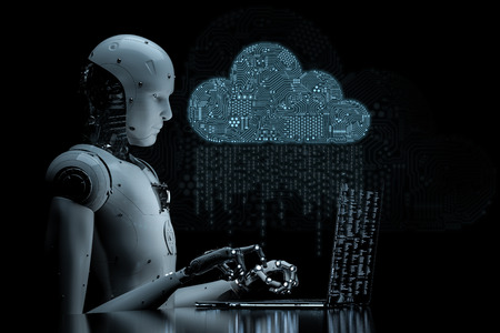 3d rendering circuit cloud with humanoid robot