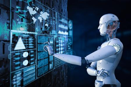 3d rendering robot working with digital display Banco de Imagens - 93631185