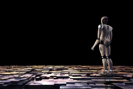 3d rendering robot with metallic floor on black background