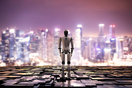 3d rendering robot with metallic floor on cityscape background