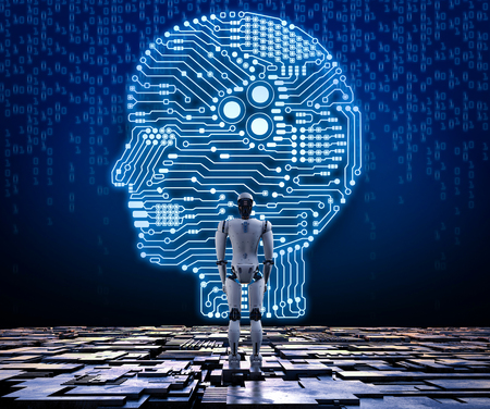 인공 지능 회로 두뇌와 3d 렌더링 휴머노이드 로봇 스톡 콘텐츠