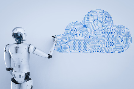 3d rendering humanoid robot with circuit cloud   Stock Photo