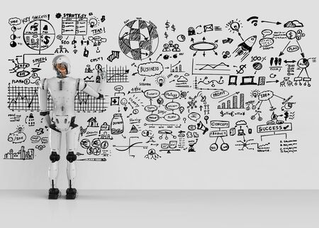 3d rendering humanoid robot writing business plan on wall Stock Photo