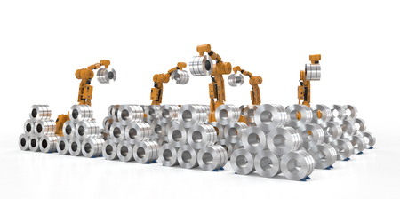 3d rendering robot arm working with roll steel