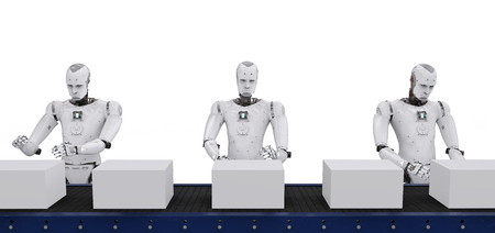 3d rendering android robot with boxes on conveyor line Stock Photo