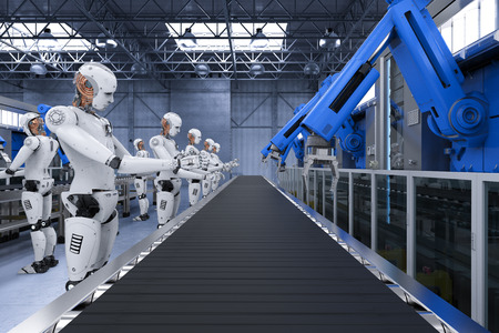 3d rendering robot assembly line with robot arms and cyborgs