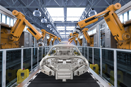3d rendering robot assembly line in car factory Stockfoto