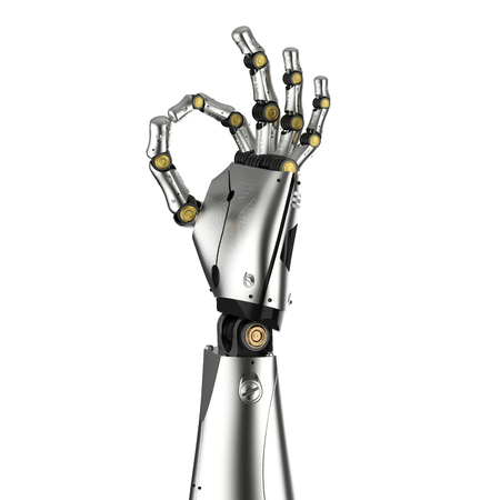 3d rendering metal cyborg arm isolated on white