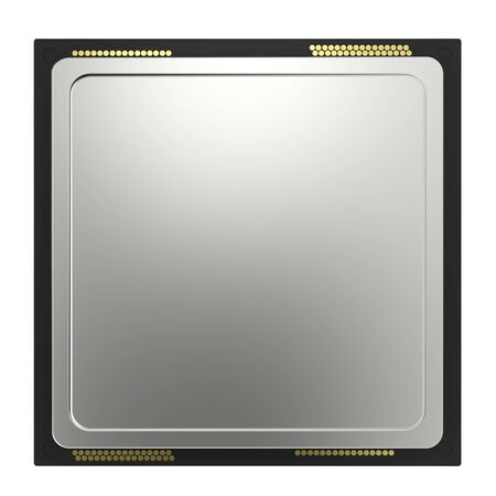 3d rendering cpu chip isolated on white