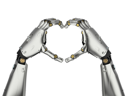 3d rendering robot hand gesture heart shape isolated