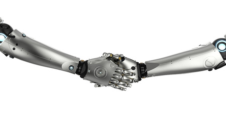 3d rendering robot hand shake isolated on white