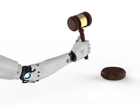 3Dレンダリングロボットハンドホールディングを持つサイバー法の概念は、白い背景に裁判官を与えた