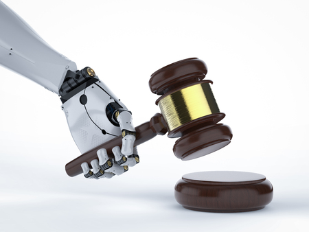 cyber law concept with 3d rendering robotic hand holding gavel judge on white background 写真素材 - 93798799