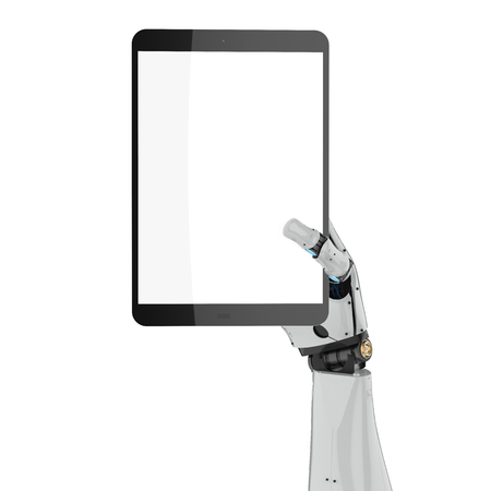 3d rendering robotic hand holding blank screen tablet isolated  Stock Photo