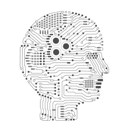Artificial intelligence brain or circuit board in head shape side view vector illustration 일러스트