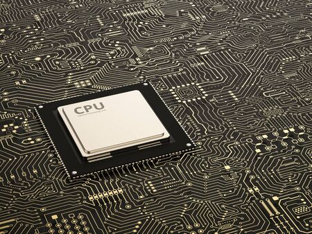 3d rendering cpu chip on circuit board background