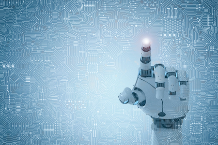 3d rendering robot finger pointing on circuit board background Stockfoto