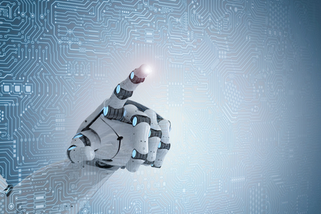 3d rendering robot finger pointing on circuit board background Stock Photo