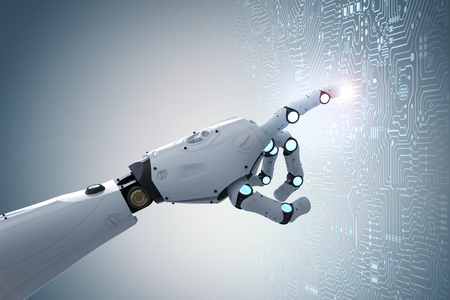 3d rendering robot finger pointing on circuit board background 写真素材