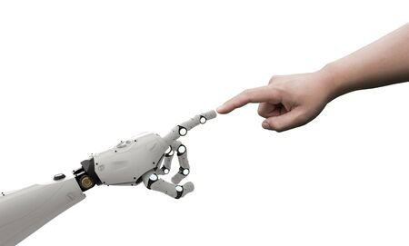 connection concept with human finger connect to 3d rendering robot finger  Stock Photo