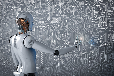 3d rendering robot finger pointing on circuit board background