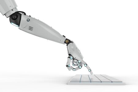3d rendering robotic hand working with keyboard