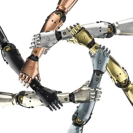 3d rendering robot hand holding together or robot teamwork