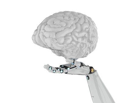 3d rendering robot hand holding artificial intelligence brain