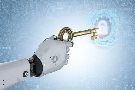 3d rendering robot hand holding golden key for unlock Stock Photo