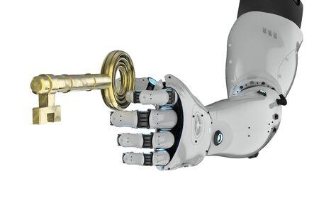 3d rendering robot hand holding golden key isolated on white Stock Photo