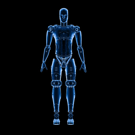 3d rendering x-ray robot full body on black background