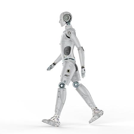 3d rendering humanoid robot walk on white background