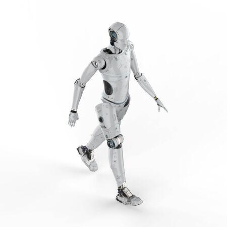 3d rendu robot humanoïde marche sur fond blanc Banque d'images - 95185022