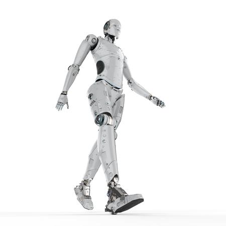 3d rendu robot humanoïde marche sur fond blanc Banque d'images - 95162852