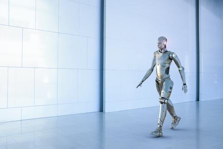 3D-Rendering humanoiden Roboter auf weißem Hintergrund